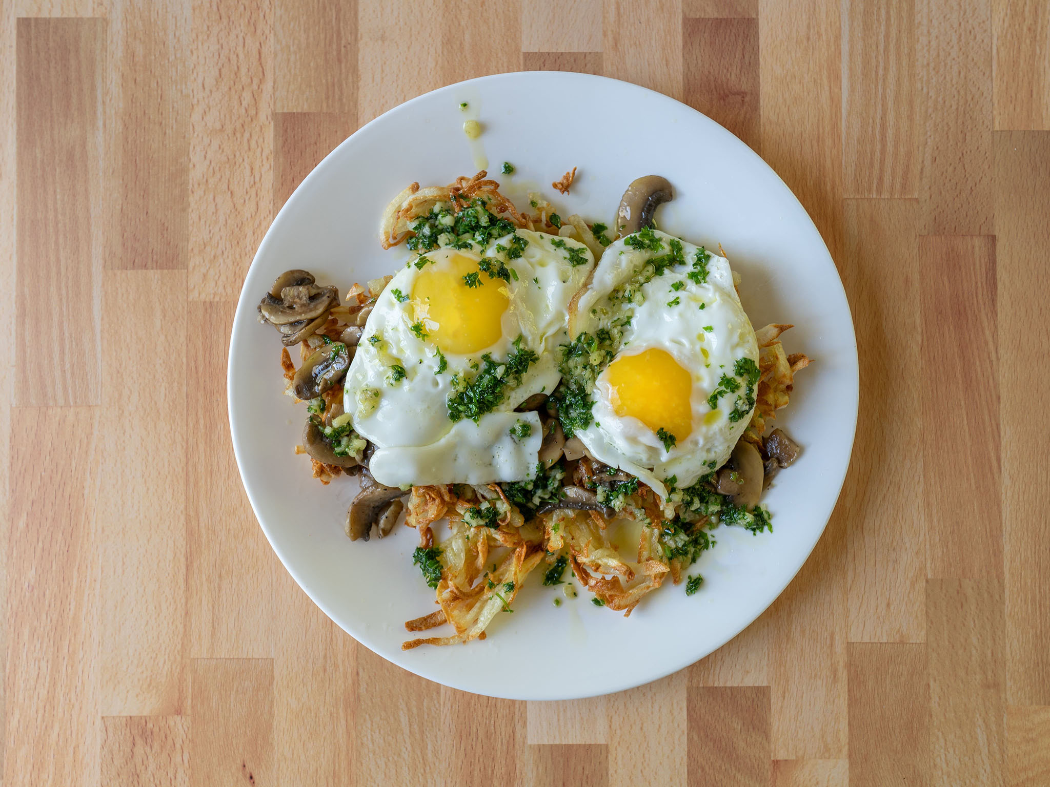 Copper Onion style Mushrooms, Eggs and Potatoes